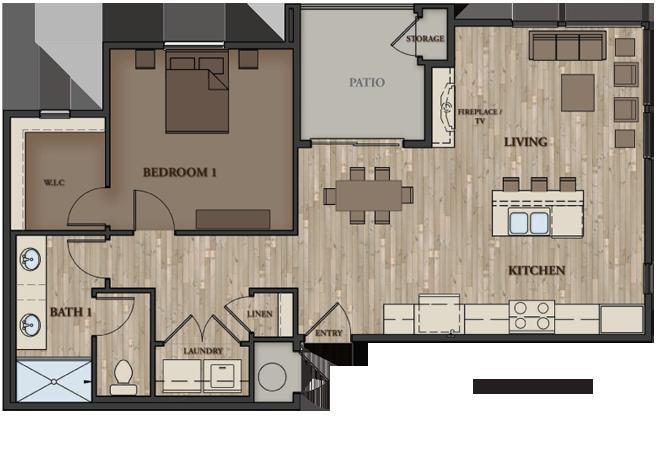 SIERRA VISTA APARTMENTS 1 BEDROOM PLAN 2