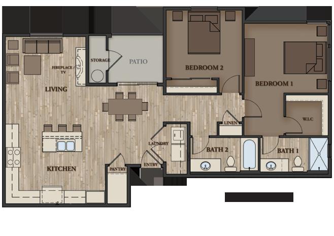 SIERRA VISTA APARTMENTS 2 BEDROOM PLAN 3