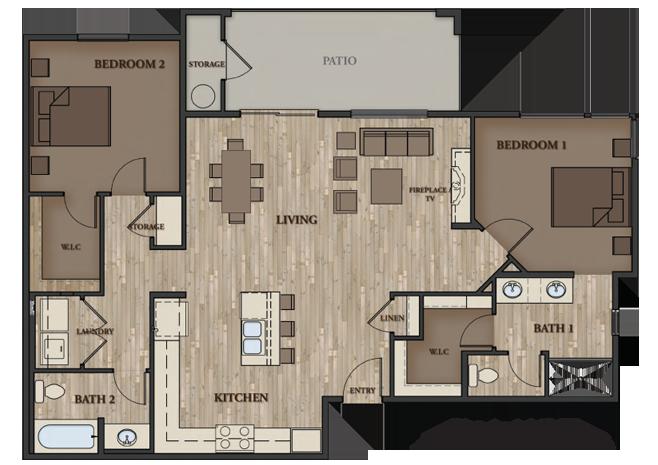 SIERRA VISTA APARTMENTS 2 BEDROOM PLAN 4
