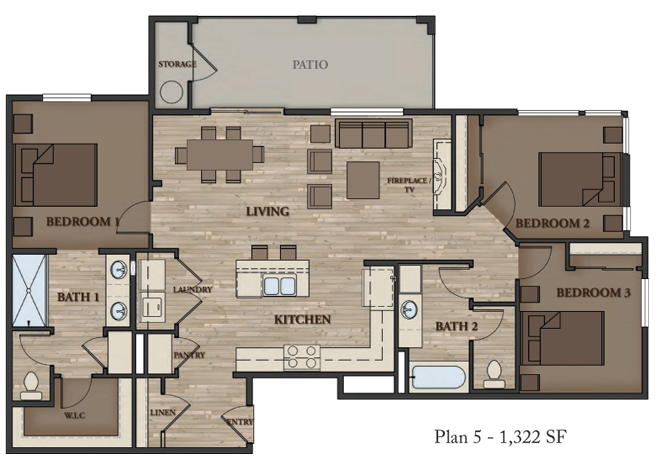 SIERRA VISTA APARTMENTS 3 BEDROOM PLAN 5