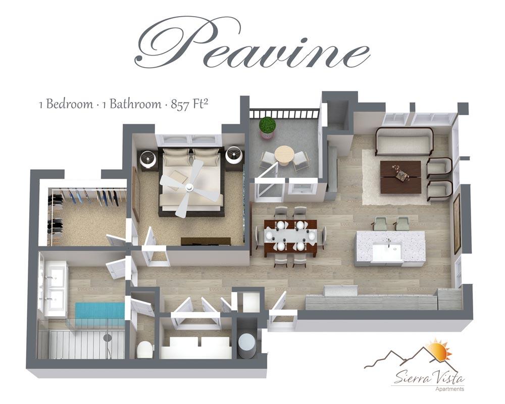 Sierra Vista Apartments One Bedroom Floorplan with washer/dryer shower walk-in closet