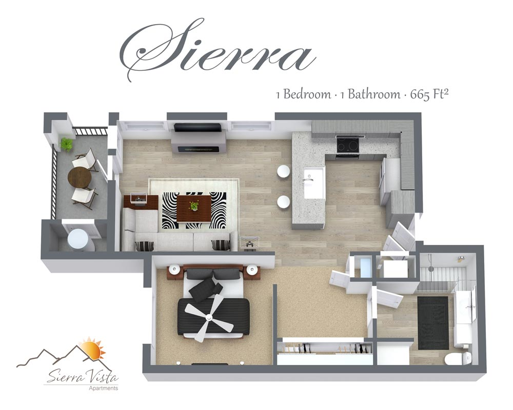 Sierra Vista Apartments Studio Floorplan with washer/dryer shower