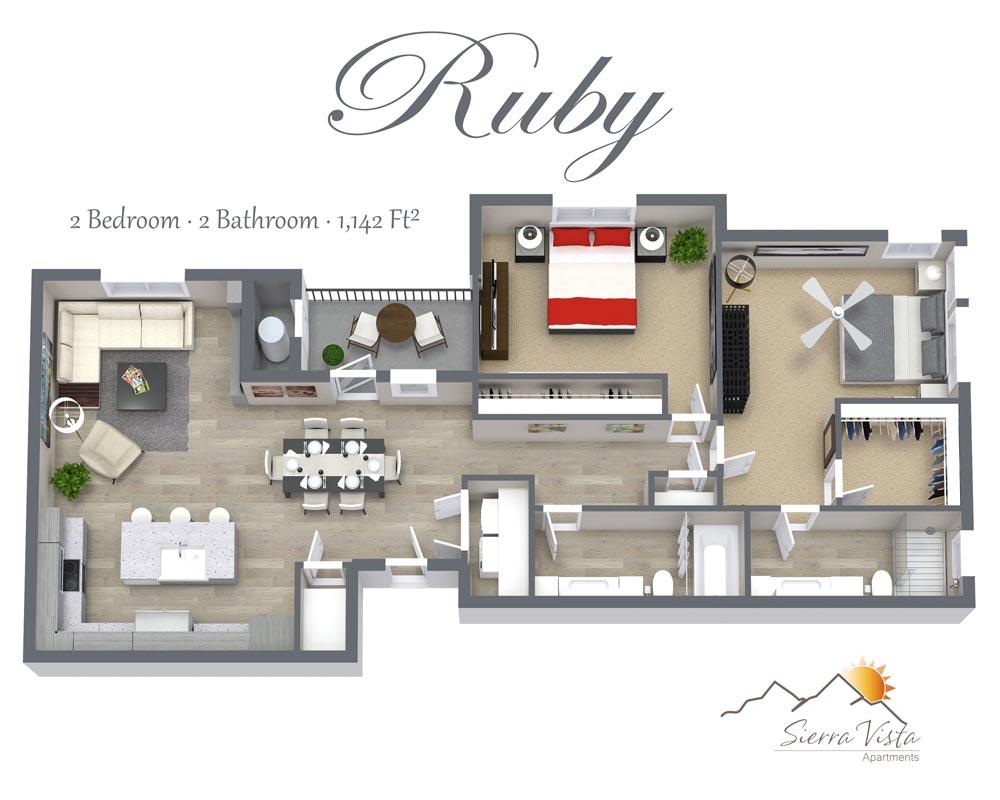Sierra Vista Apartments Two Bedroom Floorplan with washer/dryer shower walk-in closet